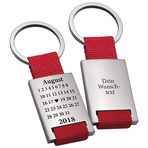 selanhänger Schönster Tag in Rot mit Wunschgravur - gravierter Schlüssel Anhänger im Kalender Design - mit Wunschtag, Monat und Jahr personalisiert ()