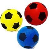 E-Deals Ballon de football doux en mousse Pour foot en salle ou extérieur, 20cm 1 Red+1 Yellow