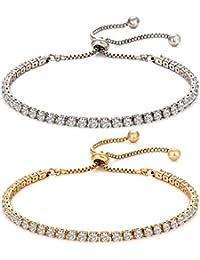 Set di 2 braccialetti tennis per donne e ragazze, con charm in zirconia cubica, regolabili