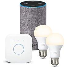 Amazon Echo (2.ª generación), tela de color gris oscuro + Philips Hue White Kit - Kit de 2 bombillas LED E27 y puente