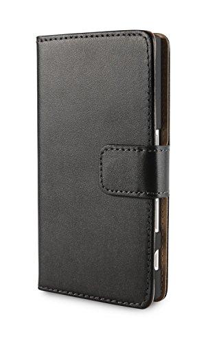 """Sony Xperia X compact Lederhülle von LUNICO VERO - Handytasche """"Matteo"""" aus Echtleder - elegante Xperia X compact Handyhülle in Schwarz - Sony Xperia X compact Schutzhülle mit Kartenfach und Standfunktion (Xperia X compact / Schwarz)"""