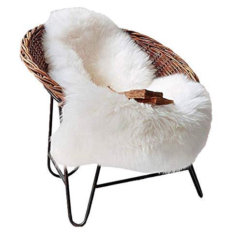 Alfombra de lana de oveja 60 x 90 cm imitación suave peluda decorativa y elegante...