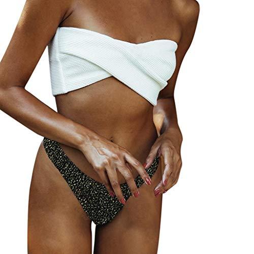 sunnymi  Bikini Set, Frauen Split Badeanzug Flash of Light Unregelmäßigkeit Bikini - Die Gelbe Taste Nach Unten Shirt