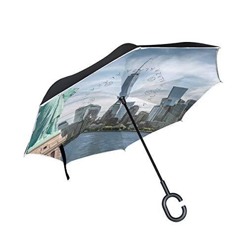 Rodde Paraguas Lluvia Doble Capa Invertida Estatua