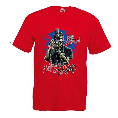 T-Shirt Pour Hommes Photographe de Zombi, Vêtements de journalistes, Experts en Photographie, Cadeau Humoristique (Small Rouge Multicolore)