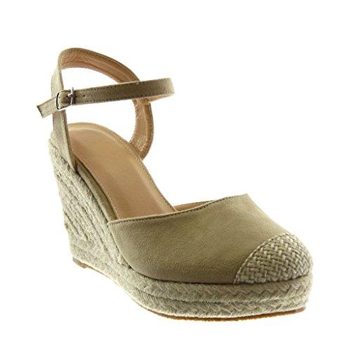 Angkorly scarpe moda sandali espadrillas con cinturino alla caviglia zeppe donna corda intrecciato tanga tacco zeppa piattaforma 10 cm - beige 88-236 t 38