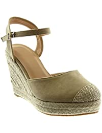 053233ff519c Angkorly Damen Schuhe Sandalen Espadrilles - Knöchelriemen - Plateauschuhe  - Seil - Geflochten - String Tanga Keilabsatz High Heel…