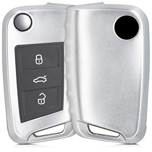 kwmobile Autoschlüssel Hülle für VW Golf 7 MK7 - TPU Schutzhülle Schlüsselhülle Cover für VW Golf 7 MK7 3-Tasten Autoschlüssel Silber matt