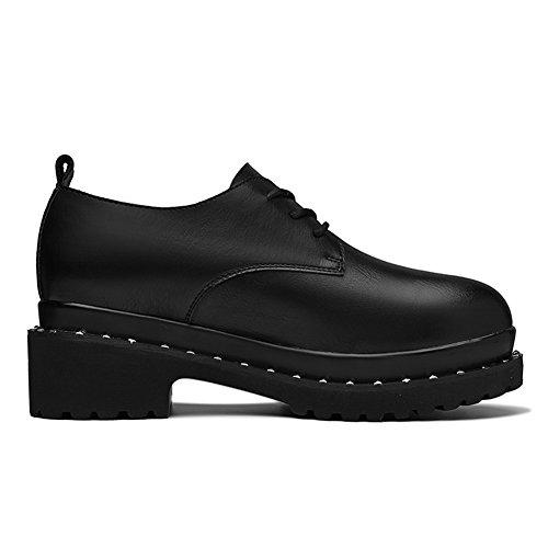 Damen Klassic Low-Top Schuhe Blockabsatz Niete Halbschaft Weich Kunstleder Freizeit Schuhe Schwarz