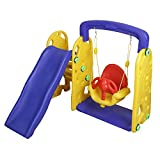 NHR Colorful 2 in 1 Junior Plastic Garden Slide with Built- in Swing