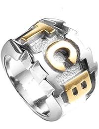 XBYN Herren Edelstahl Mode Alphabet Ring Band Gravierte Charakter TCB Ring