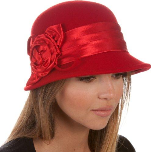 EH1121LC - Womens Vintage Style 100% Wolle Cloche Eimer Winterhut mit Satin Flower Accent (6 Farben) - Rot/One ()