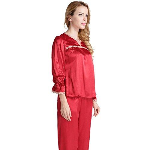 modelli sottili signora pigiama di seta del vestito di pantaloni a maniche lunghe primavera sexy e moda estiva Red