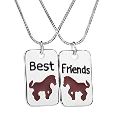 Fengteng Fashion Necklace Best Friends Animal Friends Stitching Splice Horse Tag Friendship Necklace 2 Pieces