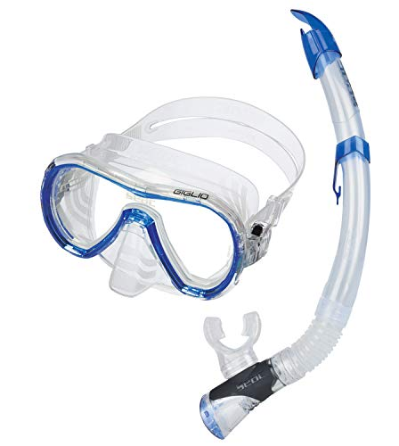 SEAC Giglio Valve Set de plongée et Snorkeling en Silicone, Tuba avec Purge de Evacuation Adulte Mixte, Bleu, Standard
