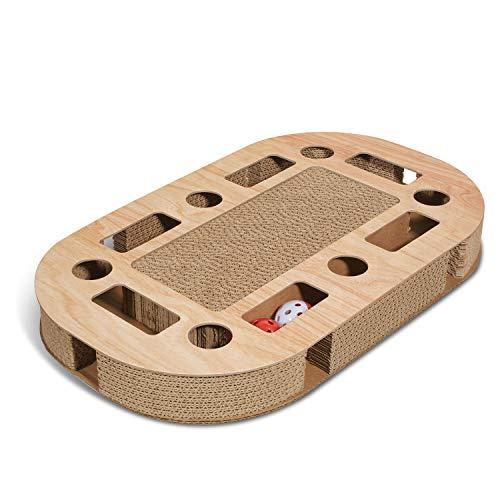 Supremery Katzenspielplatz 52x31x5,5cm mit integrierter Kratzpappe XXL Katzenspielzeug Kratzmöbel Kratzbrett aus Wellpappe - Katzenspielzeug Kratzbrett