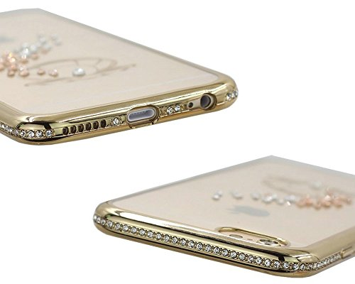 iPhone 6S Plus Hülle Silikon,iPhone 6 Plus Hülle Glitzer,iPhone 6S Plus Rosa Gold Mirror TPU Bumper Case Soft Silikon Gel Schutzhülle Hülle für iPhone 6 Plus 5.5 Zoll,EMAXELERS iPhone 6S Plus weiche S A Frame Diamond 5