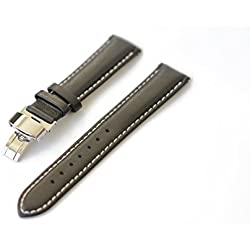Blenheim London® Classic 20mm Black Hand Made Genuine Leather and Stainless Steel Pin Buckle Watch Strap