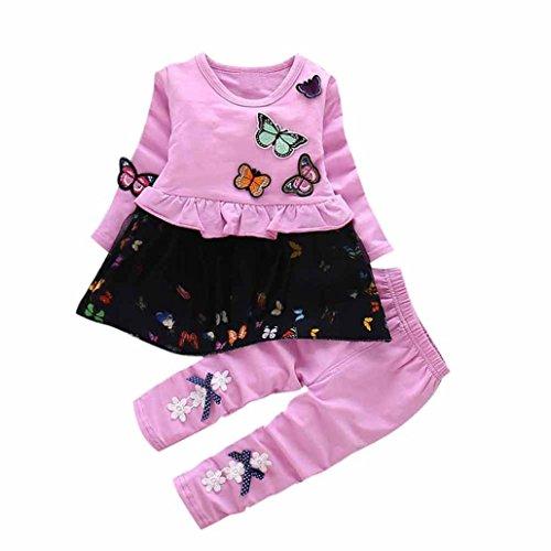 Amlaiworld Baby Mädchen Langarm t-Shirt Kleider+Hosen Kinder Niedlich -