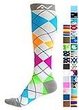 Des chaussettes de compression (1paire) pour homme et femme conçue par A-swift–adaptée pour l'athlétisme, les sports, le CrossFit, Flight Voyage–mieux encore pour les infirmières, la maternité ou femme enceinte, tibia attelles– en-dessous du genou. moyen Ocean Stripes