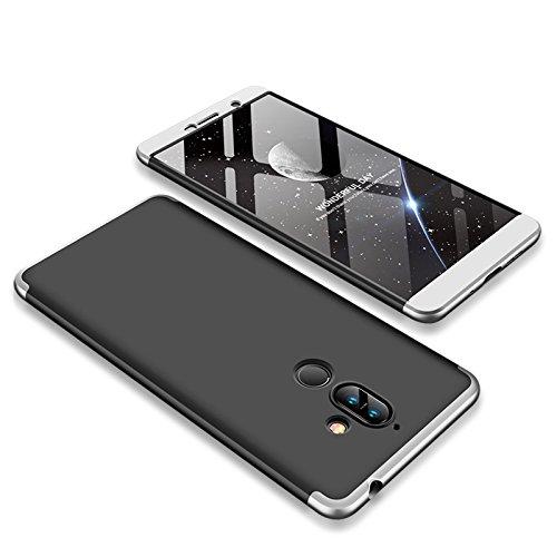 TiHen compatibili Cover Nokia 7 Plus 360 Gradi Full Body Protezione, Custodia Nokia 7 Plus Rigida Snap On Struttura 3 in 1 Case + 2 Pezzi Pellicola Protettiva - Nero Argento