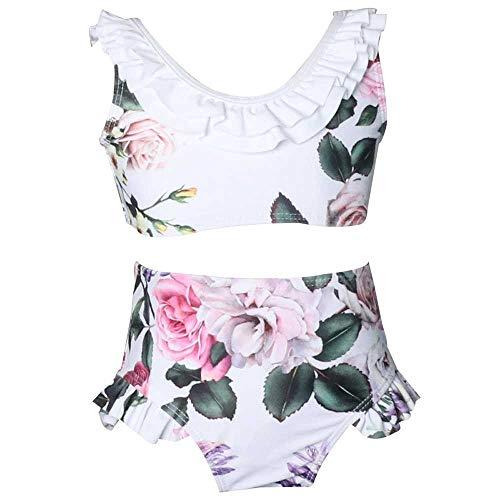 Bademode Zwei Stücke Bademode für Mädchen Drucken Hohe Taille Rüschen Skirtini Bikinis (Color : 2, Size : 5-6T) -
