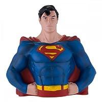 Busto di Superman in versione salvadanaio. In materiale sintetico, con licenza ufficiale.