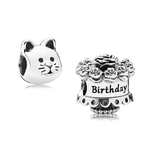 chenkset - 1 Silber Charm Happy Birthday 791289 und 1 Silber Charm Neugieriges Kätzchen 791706 ()