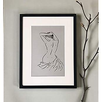Akt weiblich, ORIGINAL! Rücken Frauen Figur, weiblicher Torso Bild, A4 Tusche erotische Kunst, sitzende Frau von hinten, minimalistische Linien Zeichnung auf grauen Papier