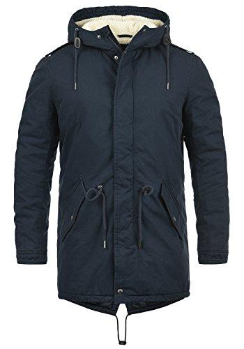 !Solid Darnell Herren Parka Lange Winterjacke Mantel Mit Kapuze Und Teddy-Futter Aus 100% Baumwolle, Größe:L, Farbe:Insignia Blue (1991)