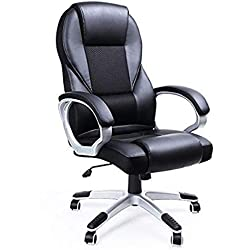 Songmincs OBG22B Sedia da Ufficio Girevole con Altezza Regolabile, Design Ergonomico, Nero