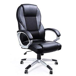 Songmics Silla de Oficina ejecutiva con Respaldo Alto, Duradera y Estable, Altura Ajustable, ergonómica, Color Negro, OBG22BUK