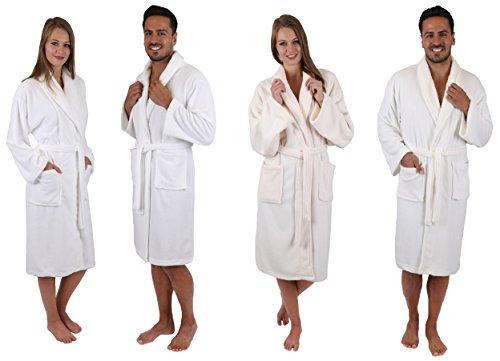 Betz Mikrofaser Bademantel Ibiza Morgenmantel für Damen und Herren mit Schalkragen Größe S/M weiß