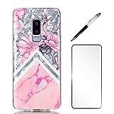 Coque pour Samsung Galaxy s9 Plus, LaiXin Housse Étui Case Cover Ultra Mince TPU Gel Silicone [Crystal Clear] Premium Transparent/Exact Fit/Souple + Protecteur d'écran + Stylet - Fleur de Pivoine