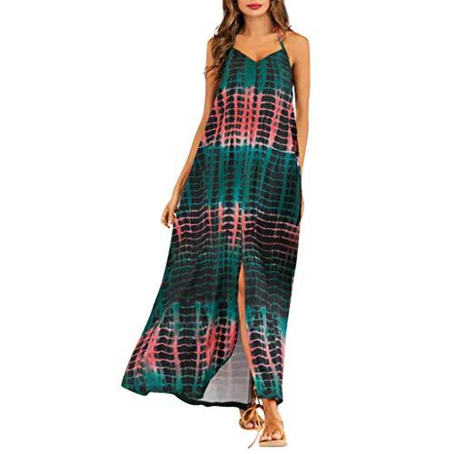 Likecrazy Maxi Kleider Damen Trägerkleid Lange V-Ausschnitt Sommerkleid Frauen Boho Gestreifte Gedruckte Strandkleider Maxi Cocktailkleid Sommerkleider
