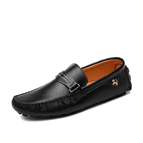 GPF-fei Herrenschuh Leder Loafers Schuhe Bootsschuh Lazy Schuhe runden Schuhe Peas Schuhe komfortabel Mode Leisure Breathable,White,42 -