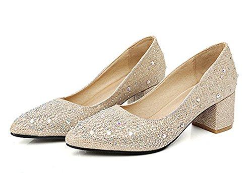 Aisun Damen Fashionable Strass Low Cut Blockabsatz Pumps Gold