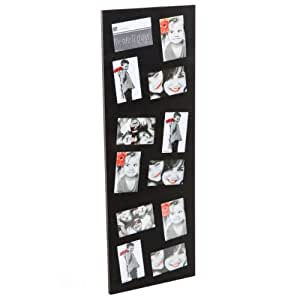 Cadre photo pêle-mêle mural coloris noir capacité 12 photos