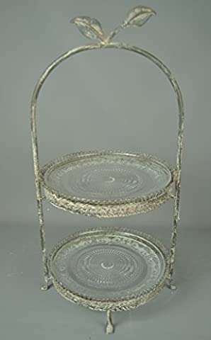 VINTAGE STYLE ANTIQUE TWO TIER CAKE STAND - great for lunch display of sandwiches and cream teas !