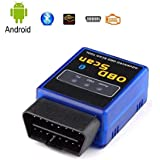 Auto Diagnosescanner, Hikeren Bluetooth OBD2 OBDII Auto Diagnose Adapter motorkontrollleuchte für Android und Windows Farbsystem kompatibel mit Torque Pro