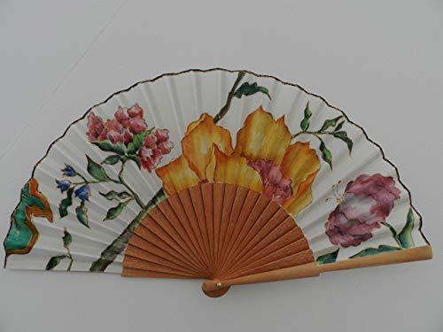 Abanico español/Abanico pintado a mano/Abanico flores/Abanico artesanal/Abanico de madera