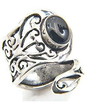 Ring versilbert verstellbar mit Onyx