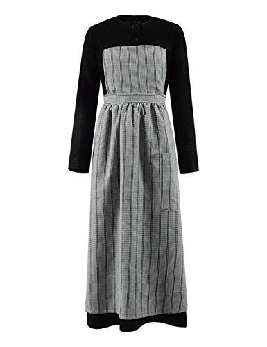 Zhangjianwangluokeji Der Klang der Musik Maria Kostüm Damen Schwarzes Kleid mit Schürzen-Outfits (M, Stil - Von Trapp Kostüm