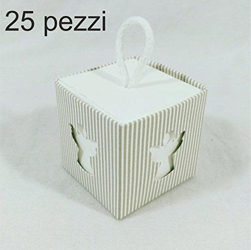 25 pz scatole portaconfetti angeli di carta, incluso cordoncino, bomboniere regalo segnaposti decorazioni per festa nascita battesimo compleanno (celeste) (5*5*5cm)