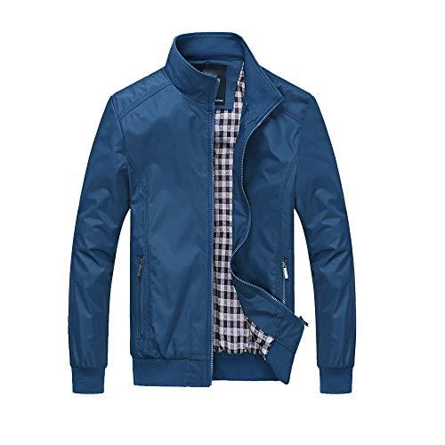Xmiral Herren Jacke Mantel Warm Outwear Schlank Langen Graben Reißverschluss Mantel (XL,Blau1)