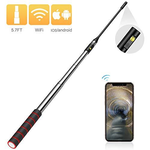 Delicacy WiFi Teleskopstange Endoskop, Kabellos Seitenansicht Industrielles Inspektionskameras mit 1,5 Meter Teleskopstange, IP67 wasserdicht 2MP HD Endoskop Kamera für iOS Android Phone Tablet
