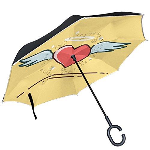 Alaza Engel Herz Flügel Halo Love seitenverkehrt Regenschirm Double Layer winddicht Rückseite Regenschirm