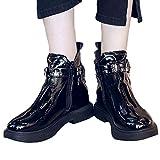 Tatis Shoes Einfarbige PU-Ledergummiband-Knöchel Lädt Dekorative Bügel-Motorradstiefel des Nietes auf Damen Schnalle Schuhe Nieten Leder Round Toe Warm Halten Starke Ferse Martin Stiefel