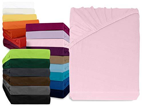 npluseins klassisches Jersey Spannbetttuch - erhältlich in 34 modernen Farben und 6 verschiedenen Größen - 100% Baumwolle, 140-160 x 200 cm, rosa -