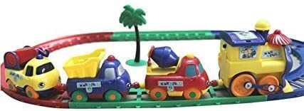 SUPER TOYS Battery Operated Cartoon Play Train Set (Multicolour, 3+ Years)